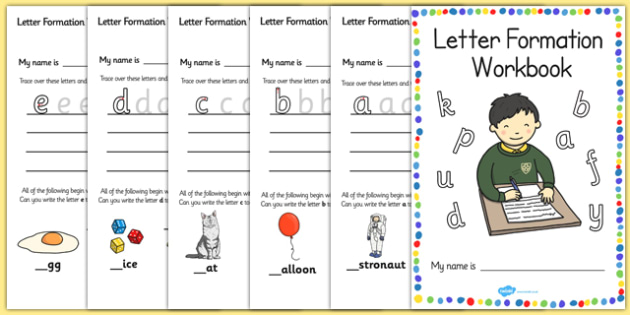 Letter formation workbook (a-z) - education, home school, child development, children activities, free, kids, worksheets, how to write, literacy