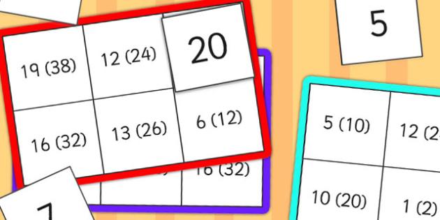 Halves Lotto - halves, lotto, game, activity, class, count, maths