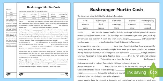 Bushranger Martin Cash Cloze Activity Sheet-Australia