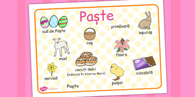 Paste, plansa de cuvinte, A 4, Romanian