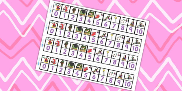Number Track 0-10 to Support Teaching on Room on the Broom - room on the broom, number track, 0-10, 0-10 number line, number line, number strips, themed number line, counting