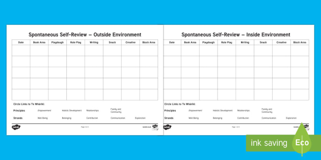 EYFS Spontaneous Self Review Report - New Zealand Back to School, self review, self assessment, provision areas, classroom environment, pr
