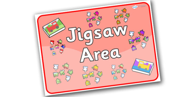 Jigsaw Area Sign - jigsaw, area, sign, jigsaw area, lettering, activities, games, puzzles, title, classroom puzzles, classroom signs, display signs