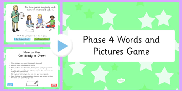 Phonics Words and Pictures Game Phase 4 - phonics, phase 4, game