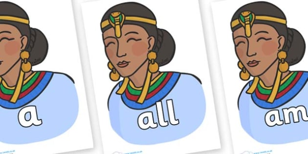 Foundation Stage 2 Keywords on Egyptian Women - FS2, CLL, keywords, Communication language and literacy,  Display, Key words, high frequency words, foundation stage literacy, DfES Letters and Sounds, Letters and Sounds, spelling