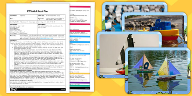On the River Problem Solving EYFS Adult Input Plan and Resource Pack