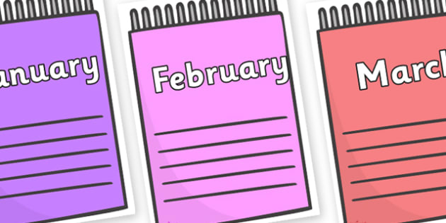 Months of the Year on Notepads - Months of the Year, Months poster, Months display, display, poster, frieze, Months, month, January, February, March, April, May, June, July, August, September