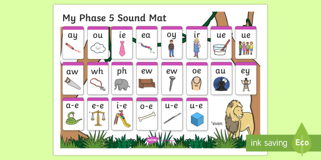 Jungle Themed Phase 5 Sound Mat - Phase 5, sound mat, phase 5 sound mat, jungle themed sound mat, phase 5 jungle themed, phase 5 jungle sound mat