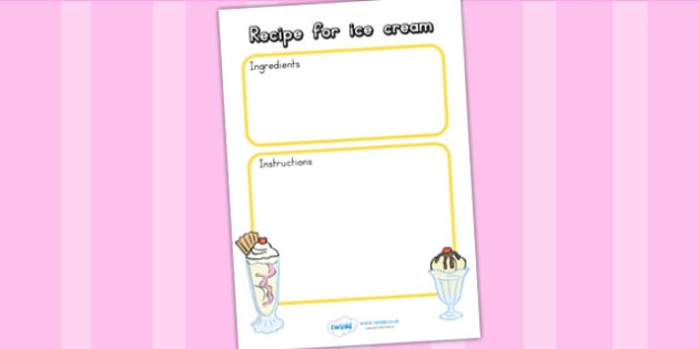 Editable Ice Cream Recipe Template - ice cream, recipe template