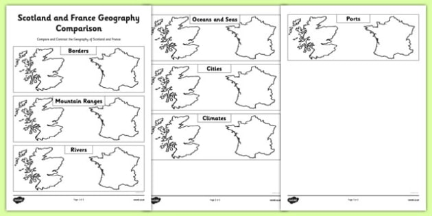 Scotland and France Geography Comparison - CfE, second level, comparison, France, Scotland