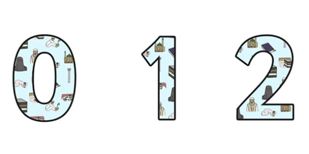 Islam Small Display Numbers - islam, religion, re, islam display, islam themed numbers, islam cut out numbers, islam numbers 0-9, religion display