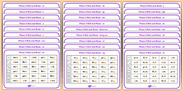Phase 3 Complete Phoneme Roll and Read Mat - phase 3, phoneme