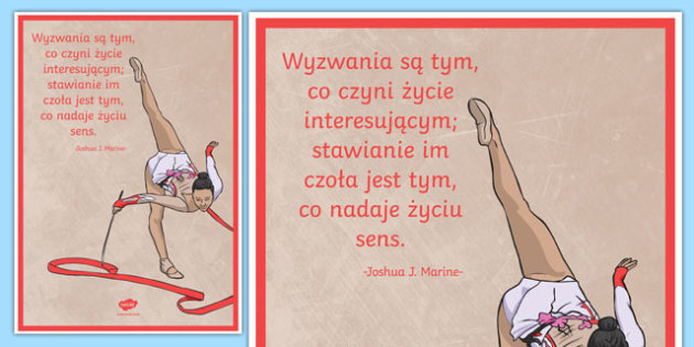 Plakat motywacyjny Wyzwania czynią życie interesującym po polsku