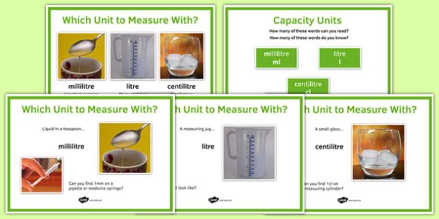 Maths Intervention Capacity Unit Posters - SEN, special needs, intervention, maths, measure, capacity