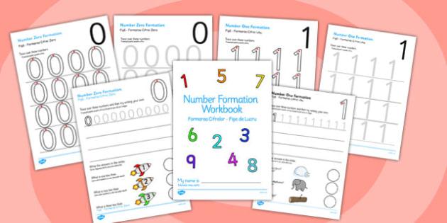 0-9 Number Formation Workbook Romanian Translation - romanian