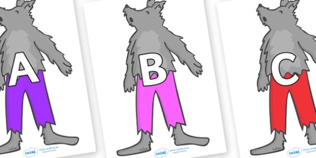 A-Z Alphabet on Werewolf - A-Z, A4, display, Alphabet frieze, Display letters, Letter posters, A-Z letters, Alphabet flashcards