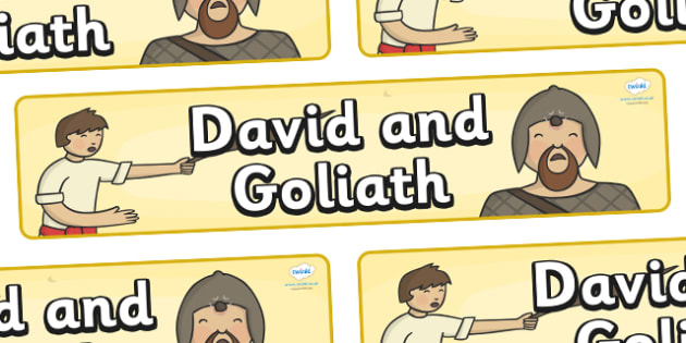 David and Goliath Display Banner - David and Goliath, David, King Saul, Goliath, display, banner, sign, poster, Philistine army, Israelite, sling, stones, sling and stones, death, kill, small, giant, clever