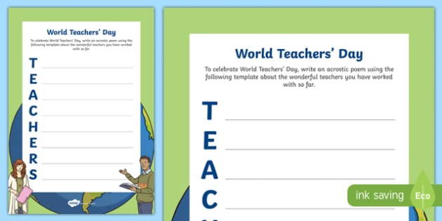 World Teachers' Day Acrostic Poem Activity Sheet-Irish, worksheet