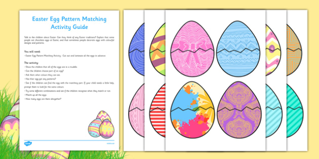 Easter Egg Pattern Matching Busy Bag Resource Pack for Parents - Easter, colour, patterns