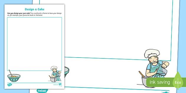 Design a Cake Activity Sheet, worksheet