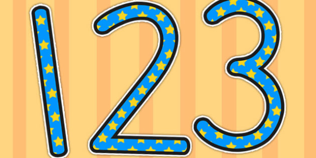 Blue with Yellow Stars Display Numbers - stars, display, numbers