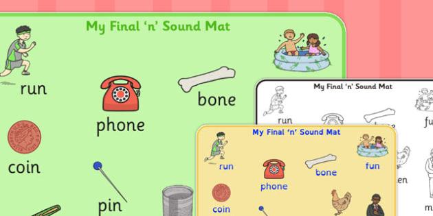 Final 'N' Sound Word Mat - final n, sound, word mat, word, mat