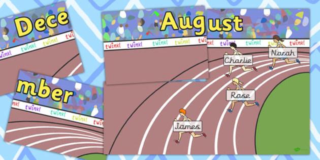 Running Track Themed Birthday Display Pack - birthday, birthday display, themed birthday display, classroom display, class display, class management, running