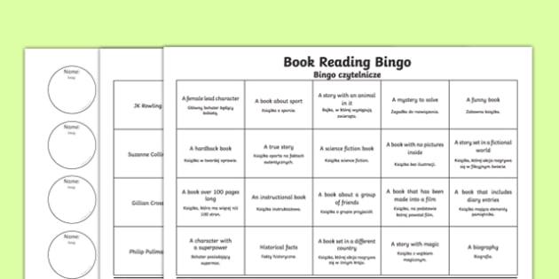 Book Reading Bingo Activity Sheets Polish Translation, worksheet