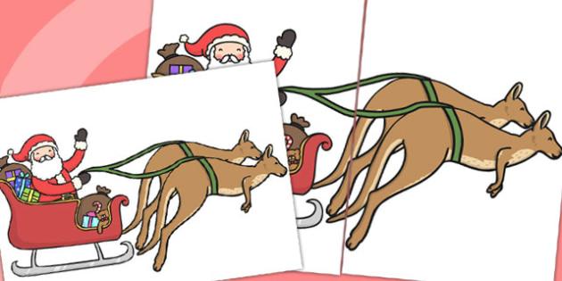 Giant Santa and Sleigh Display - australia, display, santa, cut