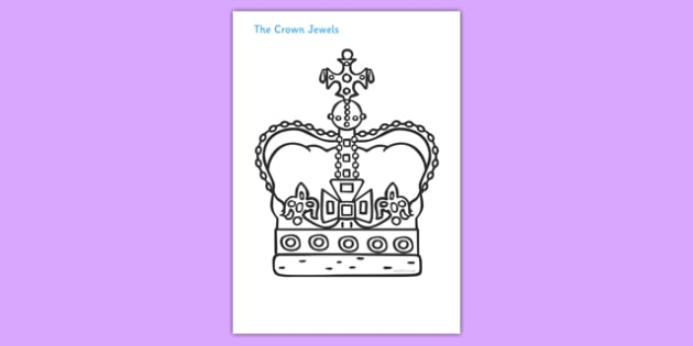 The Crown Jewels Colouring Poster - crown, jewels, Queen, Crown Jewels, colouring, fine motor skills, poster, worksheet, vines, A4, display,  history, royal