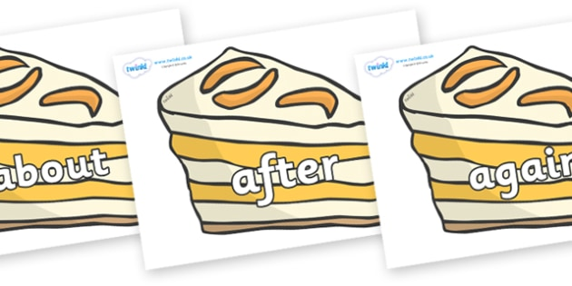 KS1 Keywords on Peach Dessert to Support Teaching on The Lighthouse Keeper's Lunch - KS1, CLL, Communication language and literacy, Display, Key words, high frequency words, foundation stage literacy, DfES Letters and Sounds, Letters and Sounds, spel