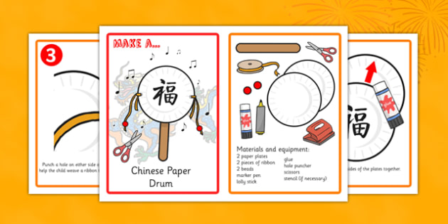 Chinese New Year Craft Paper Drum Making Activity Instructions