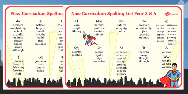Superhero Themed Spelling List Years 3 and 4 - superhero, spelling list, spelling, spell, year 3, year 4