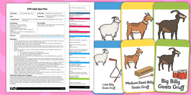 Billy Goats Gruff Listening Activity EYFS Adult Input Plan and Resource Pack