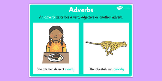 Adverb Display Poster - adverb display, grammar, literacy, vocab