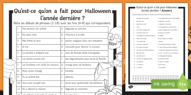 Halloween Perfect Tense Match Up Activity Sheet, worksheet