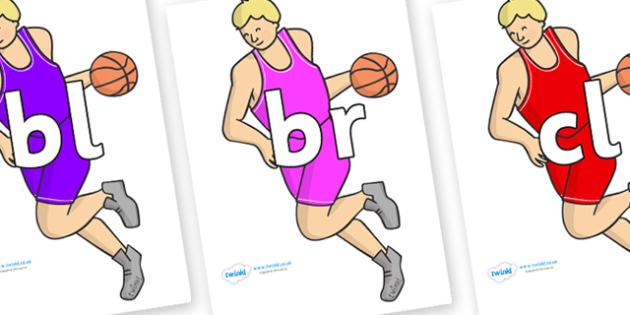 Initial Letter Blends on Basketball Players - Initial Letters, initial letter, letter blend, letter blends, consonant, consonants, digraph, trigraph, literacy, alphabet, letters, foundation stage literacy