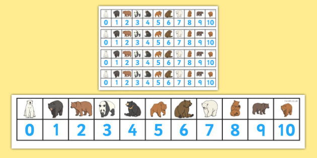 Bears Number Track (1-10) - Maths, Math, Bears, bear, number track, numbertrack, Counting, Numberline, Number line, Counting on, Counting back, animals, polar bear, koala bear, brown bear, grizzly bear, sloth bear,  bear resources
