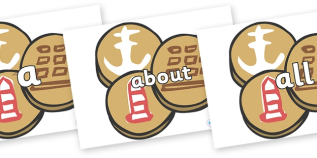 100 High Frequency Words on Sea Biscuits to Support Teaching on The Lighthouse Keeper's Lunch - High frequency words, hfw, DfES Letters and Sounds, Letters and Sounds, display words