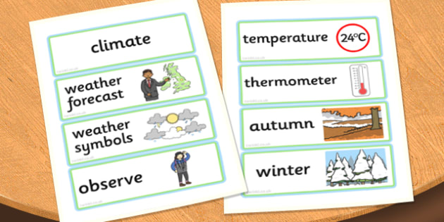 Wonderful Weather Word Cards - word cards, wonderful weather