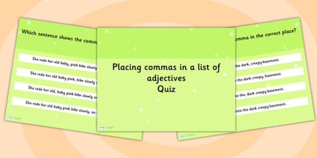 When to Put Commas List of Adjectives SPaG Punctuation PowerPoint