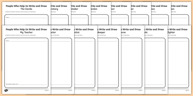 People Who Help Us Write and Draw Activity Sheets-Irish, worksheet
