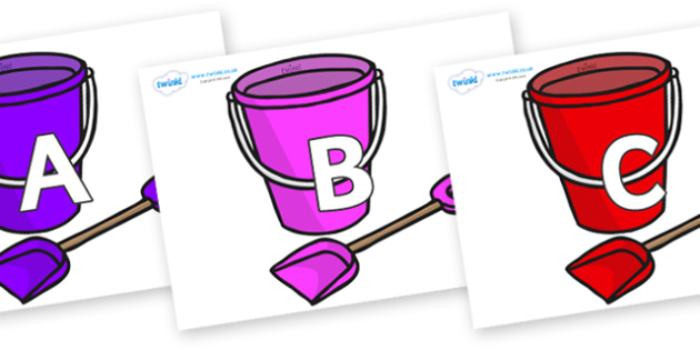 A-Z Alphabet on Spade and Buckets - A-Z, A4, display, Alphabet frieze, Display letters, Letter posters, A-Z letters, Alphabet flashcards