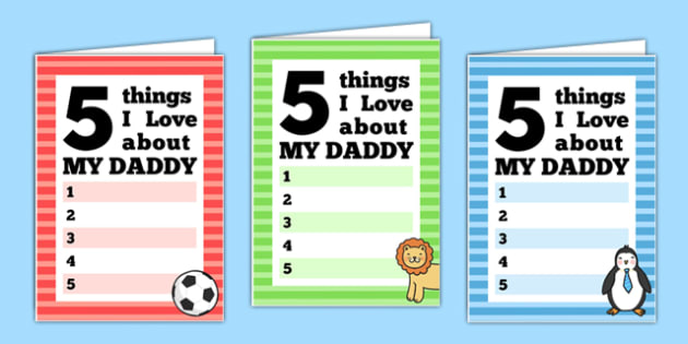 5 Things I Love About Dad Fathers Day Card Template - fathers day