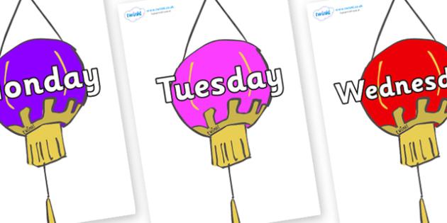 Days of the Week on Lanterns (Multicolour) - Days of the Week, Weeks poster, week, display, poster, frieze, Days, Day, Monday, Tuesday, Wednesday, Thursday, Friday, Saturday, Sunday