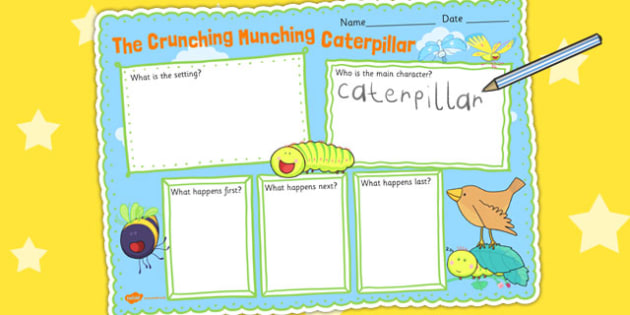Book Review Writing Frame to Support Teaching on The Crunching Munching Caterpillar