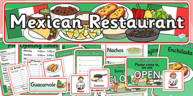 Mexican Restaurant Role Play Pack - mexican restaurant, role play, role play pack, mexican restaurant role play, resource pack, pack of resources