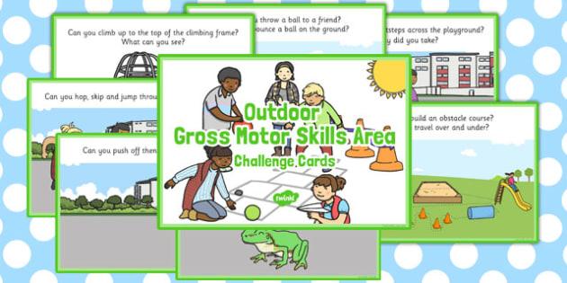 Outdoor Gross Motor Skills Area Challenge Cards - challenge