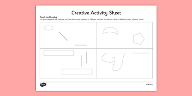 Finish The Drawing Creative Activity Sheet - art, imagination, draw, create, worksheet