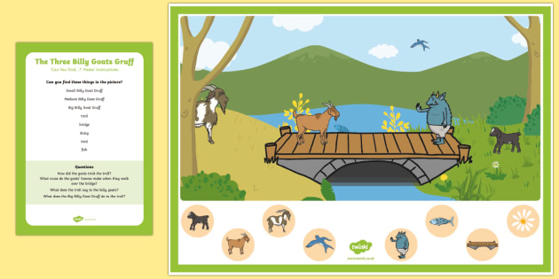 The Three Billy Goats Gruff Can you Find...? Poster and Prompt Card Pack